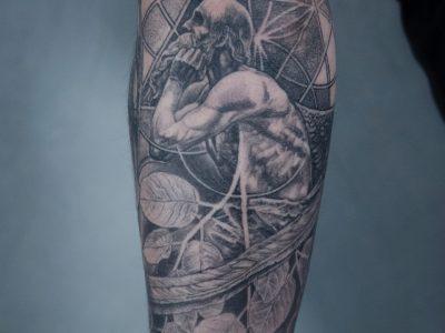Black and grey tattoo, best black and grey tattoo, smooth shading tattoo, old man tattoo, greek mythology tattoo, realistic tattoo, surrealists tattoo, god tattoo, wisdom tattoo, illustrative tattoo. dot work tattoo, thinker tattoo, leaves tattoo, nature tattoo, wings tattoo, angel tattoo