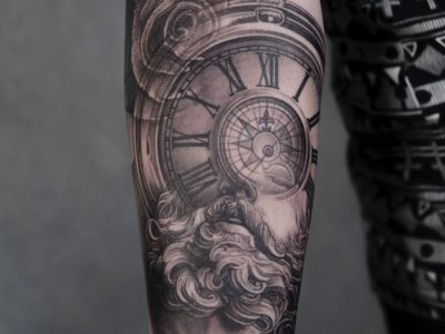 Black and grey tattoo, best black and grey tattoo, smooth shading tattoo, man and clock face realistic tattoo, time piece realistic tattoo, portrait tattoo, hyperrealism portrait tattoo, beauty and time piece tattoo, old man tattoo, pocket watch tattoo, roses and pocket watch tattoo,