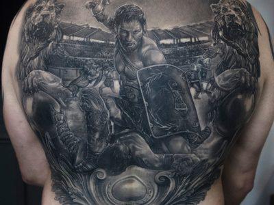 Black and grey tattoo,best black and grey tattoo, realism tattoo, gladiator tattoo, coliseum tattoo, apocalyptic tattoo, heaven and hell tattoo, renaissance tattoo, , smooth shading tattoo, warrior tattoo, architecture tattoo, fighter tattoo, portrait tattoo, photo realism tattoo