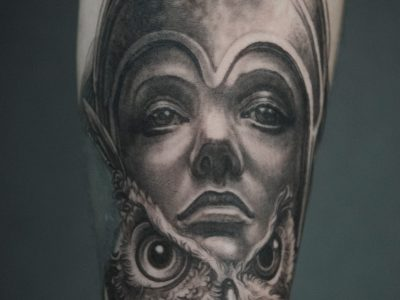 Black and grey tattoo, best black and grey tattoo, smooth shading tattoo, Athena Tattoo , greek gods tattoo, mythology tattoo, surrealistic viking tattoo, hand drawing tattoo, owl tattoo, athena and owl tattoo, surrealistic tattoo, realism tattoo, legend tattoo, mythology tattoo, Unique art tattoo, photorealism tattoo, greek goddess tattoo