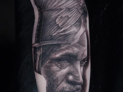 Black and grey tattoo, best black and grey tattoo, smooth shading tattoo, Ragnar Tattoo , Vikings tattoo, Norse mythology tattoo, surrealistic viking tattoo, hand drawing tattoo, Raven tattoo, sword tattoo, surrealistic tattoo, realism tattoo, legend tattoo, mythology tattoo, Unique art tattoo, photorealism tattoo