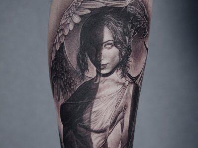 Black and grey tattoo, best black and grey tattoo, smooth shading tattoo, angel Tattoo , demon tattoo, mythology tattoo, surrealistic engel tattoo, good vs evil tattoo, half angel half demon tattoo, wings attoo, surrealistic tattoo, realism tattoo, legend tattoo, divine tattoo, Unique art tattoo, photorealism tattoo, portrait tattoo.