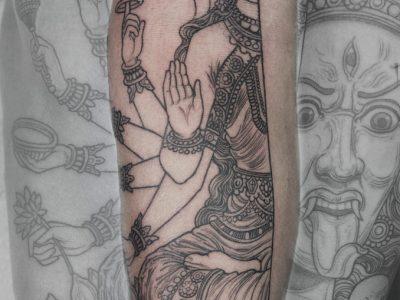 Black and grey tattoo, best black and grey tattoo, smooth shading tattoo, goddess khaly tattoo, indian mythology tattoo, gods realistic tattoo, god's of war tattoo, neot radtional tattoo, hand drawing tattoo, forearm tattoo, old school tattoo, line work tattoo, minimalist tattoo, illustrative tattoo