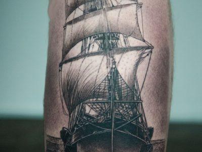 black and grey tattoo, realism tattoo, surrealism tattoo , smooth tattoo , skull and ship tattoo, skull tattoo , sailing tattoo, dark art tattoo, art tattoo, sailor tattoo, navigation tattoo, compass tattoo, photo realism tattoo, surrealism tattoo, portrait tattoo, calf tattoo, leg tattoo, full leg sleeve tattoo