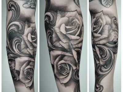 Black and grey tattoo, best black and grey tattoo, smooth shading tattoo, roses , filigree tattoo, gothic tattoo, surrealistic tattoo, gothic tattoo, surrealistic tattoo, realism tattoo, roses and filigree tattoo, dark art tattoo, Unique art tattoo, photorealism tattoo, High details tattoo, forearm tattoo, full sleeve tattoo,