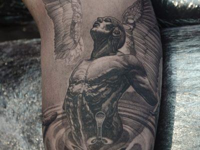 Black and grey tattoo,best black and grey tattoo, realistic tattoo, realism tattoo, angel tattoo, apocalyptic tattoo, heaven and hell tattoo, renaissance tattoo, , smooth shading tattoo, religious tattoo, angel warrior tattoo, god tattoo, angel in water tattoo, portrait tattoo, illustrative tattoo, full sleeve tattoo , wings tattoo