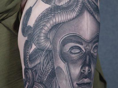 Black and grey tattoo,best black and grey tattoo, realistic tattoo, realism tattoo, medusal tattoo, apocalyptic tattoo, mythology tattoo, renaissance tattoo, , smooth shading tattoo, goddess tattoo, greek gods tattoo, god tattoo, tattoo, portrait tattoo, illustrative tattoo, legl sleeve tattoo , snakes tattoo, greek tattoo, greek mythology tattoo